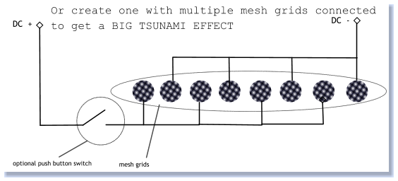 DC  + DC  - optional push button switch mesh grids Or create one with multiple mesh grids connected  to get a BIG TSUNAMI EFFECT